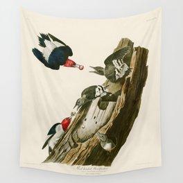 Red headed Woodpecker - John James Audubon's Birds of America Print Wall Tapestry