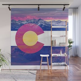 Colorado flag and mountains Wall Mural