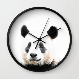 Panda Watercolor Panda Bear Portrait Wall Clock