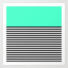 STRIPE COLORBLOCK {MINT/TEAL} Art Print