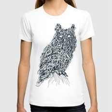 Owl White Womens Fitted Tee X-LARGE
