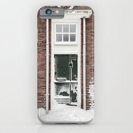 Front Door In The Netherlands | Winter Photography | Dutch Front Door In Snow iPhone Case