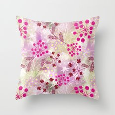 bright floral pattern ,watercolor background. Throw Pillow