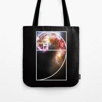 fibonacci Tote Bags featuring Fibonacci Spiral Galaxy by Galactic Mantra