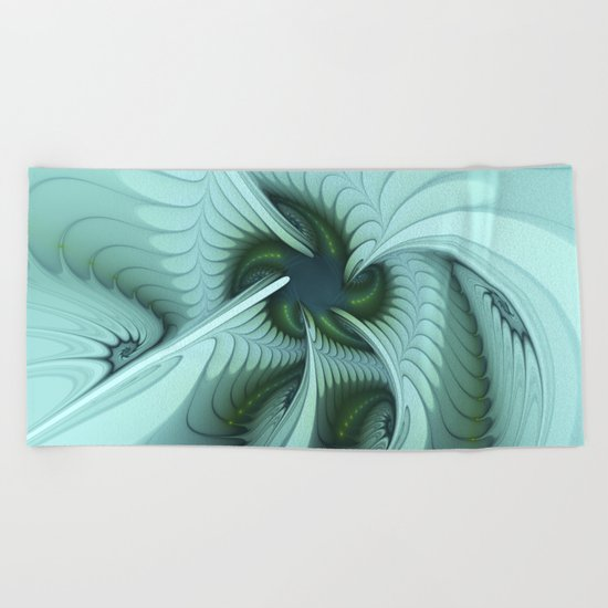 Green Lights in a blue Fantasy Fractal Beach Towel
