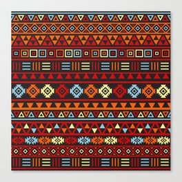 Aztec Influence Ptn IV Orange Red Blue Black Yellow Canvas Print