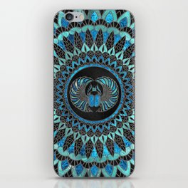 Egyptian Scarab Beetle - Gold and Blue glass iPhone Skin