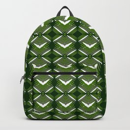 Grassy rhombuses of white stars with hearts in a bright intersection. Backpack