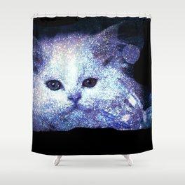 Cat white glitter Shower Curtain