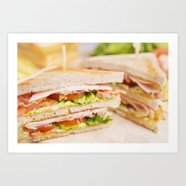 Club sandwich on a rustic table in bright light Art Print