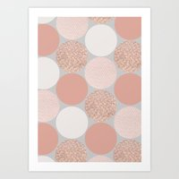 gold dots Art Prints featuring Rose Gold Dots by Georgiana Paraschiv