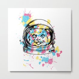 An astrocat and random color patches Metal Print