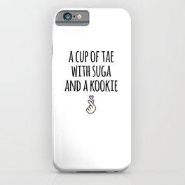 A Cup of Tae with Suga a Kookie Korean Hangul iPhone Case