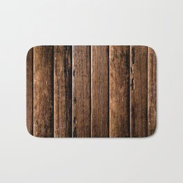 Farmhouse Wood Slats Wood Design Bath Mat