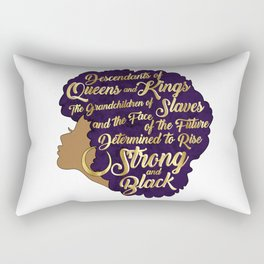 Black Girl Magic - Descendants of Queens and Kings Determined To Rise Faux Gold Afro Woman Rectangular Pillow