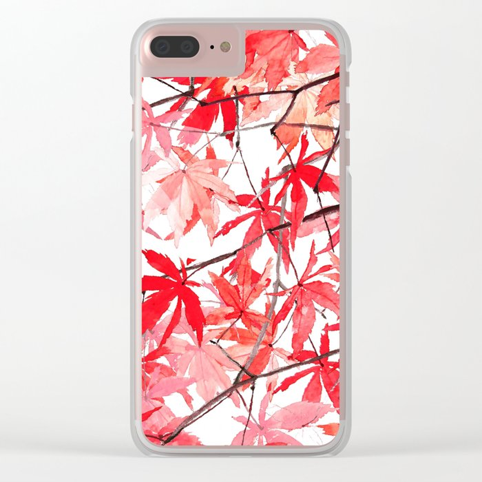 red orange maple leaves watercolor painting 2 Clear iPhone Case