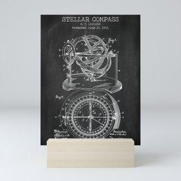 Stellar Compass chalkboard patent Mini Art Print