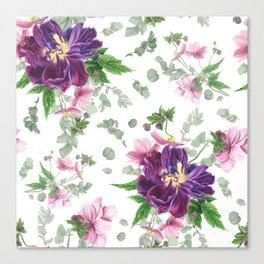 Purple tulips, anemones and eucalyptus Canvas Print