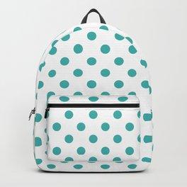Small Polka Dots - Verdigris on White Backpack