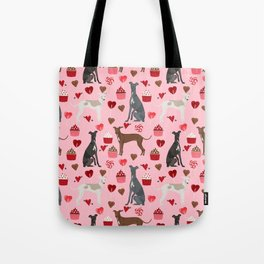 Italian greyhound love cupcakes valentines day dog breed gifts Tote Bag