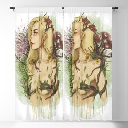 """Watercolor Painting of Picture """"Profile Woman"""" Blackout Curtain"""