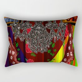 Red Boots in air by chandelier Rectangular Pillow