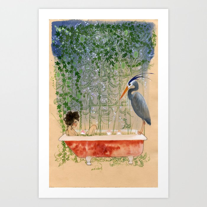 Leda and the Heron Art Print