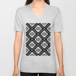 Aztec Symbol Pattern White on Black Unisex V-Neck