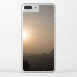 Sunset at Giza Pyramids Giza Egypt Cairo Clear iPhone Case
