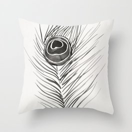 Peacock Feather – Black Palette Throw Pillow