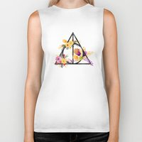deathly hallows Biker Tanks featuring Life and Deathly Hallows by Snazzy Sisters