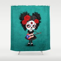 puerto rico Shower Curtains featuring Day of the Dead Girl Playing Puerto Rican Flag Guitar by Jeff Bartels
