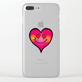 I Love You Pink Doodle Heart Clear iPhone Case