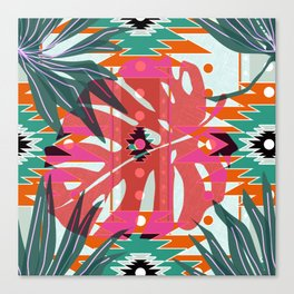 Colorful leaves and geometric shapes Canvas Print