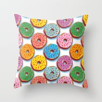donuts Throw Pillows featuring Donuts by Helene Michau