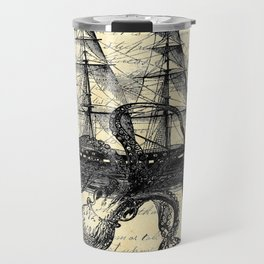 Kraken Octopus Attacking Ship Multi Collage Background Travel Mug