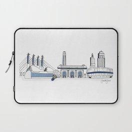 Kansas City Skyline Illustration in Sporting KC Colors Laptop Sleeve