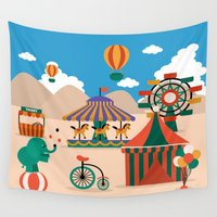 carnival Wall Tapestries featuring carnival by adamrobertreid