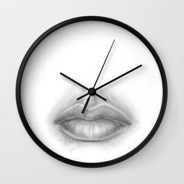 Pouty Sexy Lips Pencil Art | Graphite Drawing | Sexuality | Face Wall Clock