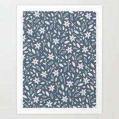 Winter Bloom - in Navy Art Print