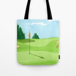 Golf Course Putting Green Watercolor Painting Tote Bag