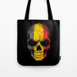 Dark Skull with Flag of Belgium Tote Bag