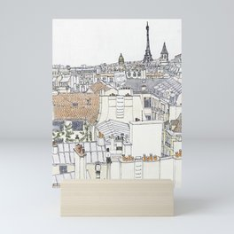 Pen + Ink Paris Rooftops Mini Art Print