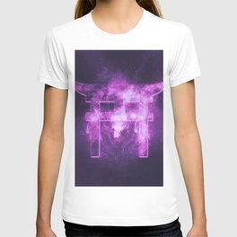 Shinto symbol. Japan Gate. Torii gate. Abstract night sky background. T-shirt
