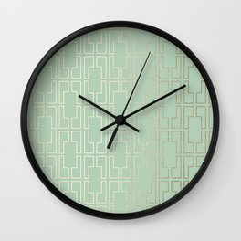 Simply Mid-Century in White Gold Sands and Pastel Cactus Green Wall Clock