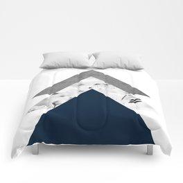 Blue grey monochrome blossom arrows Comforters