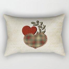 Red & Green Plaid Heart Love Letter Rectangular Pillow