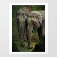elephants Art Prints featuring Elephants  by Guna Andersone & Mario Raats - G&M Studi