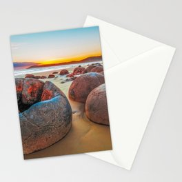 Unreal Moeraki Boulders at low tide, Koekohe beach, New Zealand Stationery Cards
