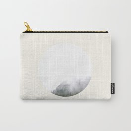 Mid Century Modern Round Circle Photo Graphic Design Minimal Foggy Mysterious Pine Forest Carry-All Pouch